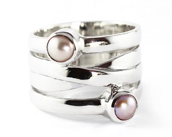 Silver Pink Pearl Ring Custom Gemstone Womens Personalized Jewelry