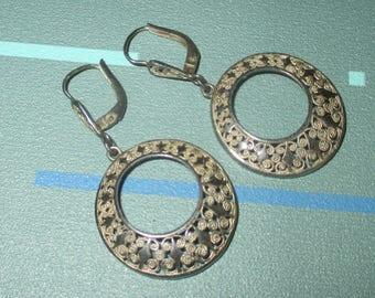 Vintage Sterling Silver Filigree Circle Dangle Earrings