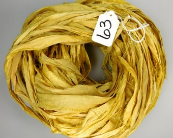 Sari silk Ribbon, Recycled Silk Sari Ribbon, yellow sari ribbon, weaving supply, rug making supply, knitting supply, crochet supply
