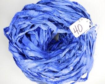 Sari Silk Ribbon, Recycled Silk Sari Ribbon, blue sari ribbon, Iris blue Sari ribbon, jewelry supply, weaving supply, knitting supply