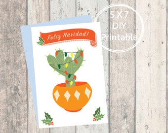 Printable Christmas Card Cactus, Merry Christmas, Printable Christmas Card, Christmas Card, Printable, Holiday Card, Mid-Century, Mexico