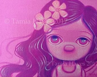 Original Big Eye Art Acrylic Painting Cherry Blossoms Pink Spring Flowers Tamia Chicasol