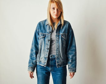Vintage Levis Denim Jacket with Plaid Lining