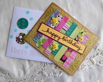 Handmade Birthday Card: complete card, handmade, balsampondsdesign, smile face, brown, yellow, sister, friend, daughter