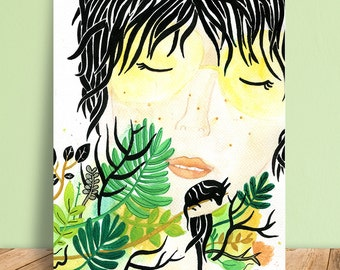 Woman Painting, Hippie Art, Totem Animal, Ink, Watercolor Original, Illustration, Summer, Floral Home Decor