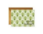MANY THANKS Succulent Folded Notes /  Shimmery Antique Gold Envelopes - Set (8)