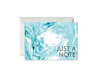 JUST A NOTE Aqua Marble Notecards + Envelopes Pack   Boxed Set (8)   Modern   Elegant