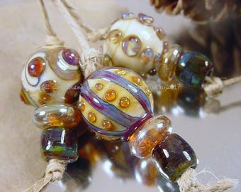 Handmade lampwork glass bead set, Artisan glass beads, blue beads, purple beads, ivory beads, gold beads, round beads, SRA lampwork beads