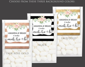 Wedding Favor Stickers for Tic Tac® - Mint to Be Favors Wedding Shower Favor Label Wrappers BOLD STRIPES & FLOWERS Faux Gold Rose Gold Black
