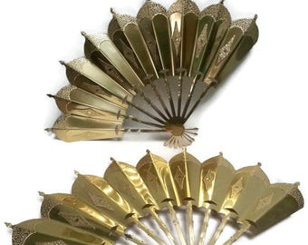 Vintage Brass Hammered Wall Fans