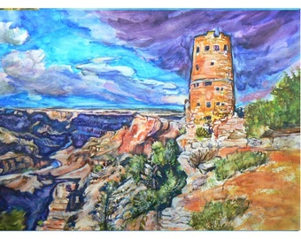 GRAND CANYON CASTLE -11x15 original painting landscape watercolor ooak, Original Painting,Signed, Dated, Arizona, Canyon, Watchtower