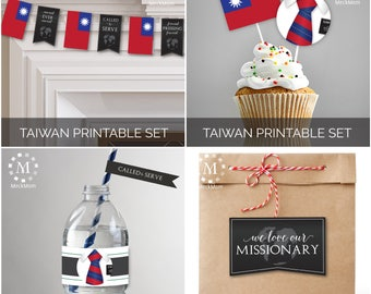 INSTANT DOWNLOAD - TAIWAN -  Missionary Farewell Welcome Home Decoration Printable Set for Elders