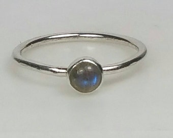Labradorite Pinky Ring, Small Blue Flash Labradorite Ring, Sterling Silver Ring, Size 4 Ring, Thin Stacking Ring, Grey by Maggie McMane