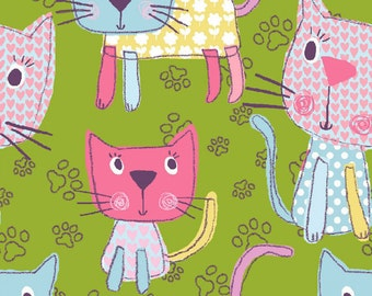 Chi Chi Patches- Tossed Kitty- Green Kitty's - by 3 Wishes Fabric- Cotton Fabric -Kitty Green Fabric- By the half & Yard
