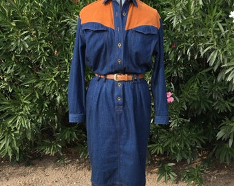 Vintage Liz Clairborne Western Cowgirl Denim Jean Dress Sz 10 80s Retro