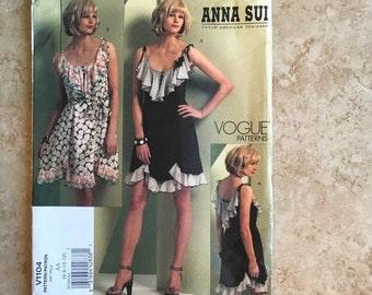 Vogue 1104 Anna Sui Flows Spring Summer Dress Designer 6 8 10 12 New Uncut