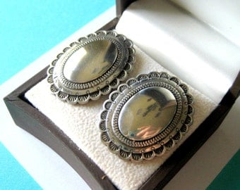 Large Navajo Sterling Silver Concho Clip Earrings