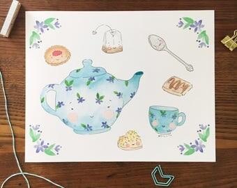 Tea Set Art. Teapot Art Print. Watercolor Art. 8x10 Print. Nursery Decor. Baby Gift. Food Art. Teapot Illustration. Kids Room Decor.