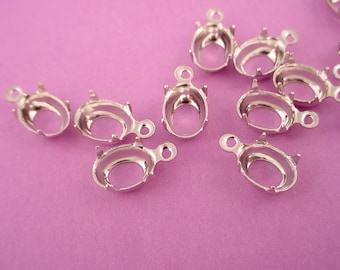 18 Silver Tone Oval Prong Settings 8x6 1 Ring Open Back