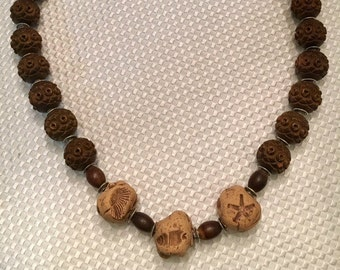 Vintage Brown Prayer Bead Necklace with Beach Theme Hand Crafted Clay Beads - Summer Necklace - Mother's Day Gift Idea - Mother's Day - Mom