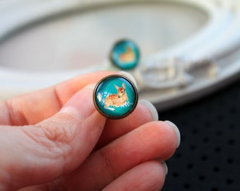 Pretty deer fawn stud post earrings sweet lolita feminine