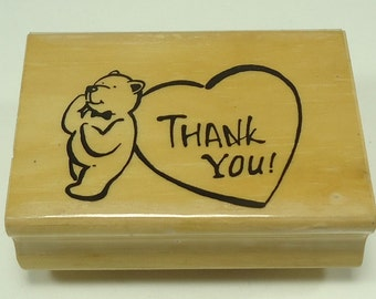 Bear With Heart Thank You Wood Mounted Rubber Stamp