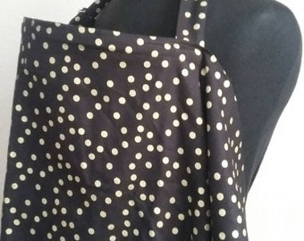 Breastfeeding  Cover, Nursing Cover, Black Gold Dot Nursing Cover Up