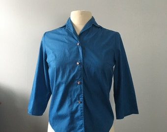 Blue button up / classic button up blouse / 3/4 sleeve shirt