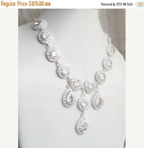 Black Friday Sale Bridal Necklace White CZ Sterling Silver CNN1
