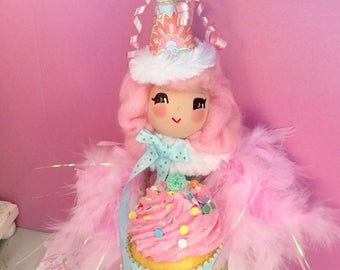 Cupcake doll birthday girl tree topper centerpiece pink blue green pink hair art doll celebrate birthday party decor vintage retro inspired