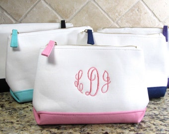 Personalized Mint Cosmetic Bag  Monogram Makeup Bag Cosmetic Bag Canvas Cosmetic Bag Bridesmaid Gift Teacher Appreciation Gift
