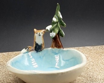 Red Fox and pine Trinket bowl