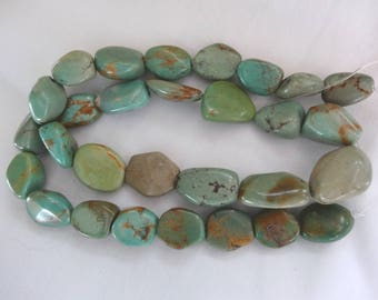 """15 1/2"""" Strand Turquoise Nuggets 11-17mm Long 29 Beads A632"""