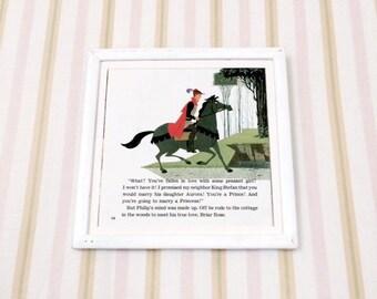 7x7 Vintage Square Sleeping Beauty PRiNCe PHiLiP You MUST Marry A Princess! Illustration Book Plate Princess, Vintage Disney Print