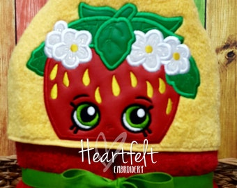 Clearance Sale - Last One - Ready To Ship - Strawberry Hooded Towel - Birthday Gift