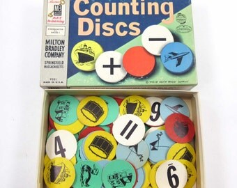 Vintage Set of 136 Counting Discs with Pictures and Math Symbols by Milton Bradley in Original Box