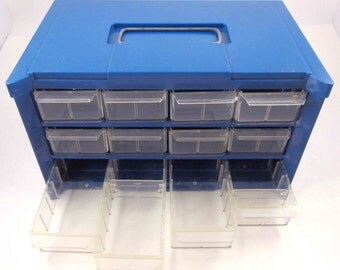 Fabulous Vintage Industrial Blue Hard Plastic Organizer 12 Storage Drawers with Handle for Crafts Jewelry Beads Desk Office Supplies