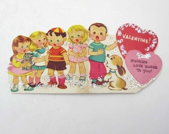 Vintage Children's Novelty Valentine Greeting Card with Cute Little Boys and Girls Singing Dog Cat