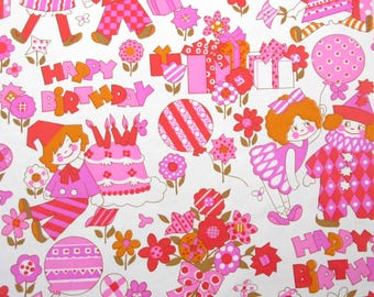 Vintage Pink Red Orange Gold Children's Birthday Wrapping Paper or Gift Wrap with Clowns Gifts Flowers Ballerina Dolls and Balloons