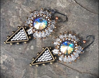 Beaded Swarovski crystal, Bronze and Czech glass Beadwoven Drop Earrings by Hannah Rosner