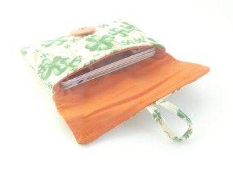 st. patrick's day credit card case. cute green fabric women card holder. business card holder. small tween teen woman gift