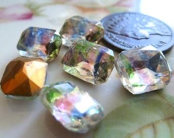 6 Vintage Iris, Rainbow Glass Octagon Jewels, Stones, Rhinestones, 10x8mm, C13