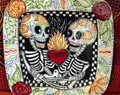 Skeleton Lovers Full Color Ceramic Platter Ready to Ship for Anniversary, Wedding and Day of the Dead