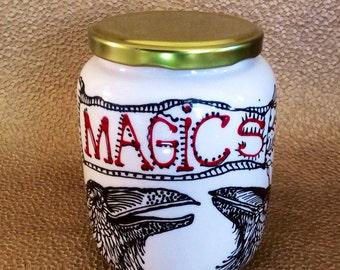 Raven Magics Lidded Ceramic Jar Hand Painted Original