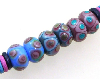 Handmade Lampwork Glass Beads - 3 pairs. Dot reactions on periwinke, denim, violet. Stacked dots, earring pairs.