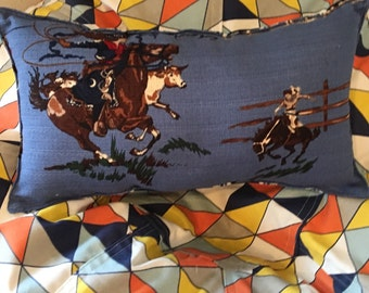 """Wild West Vintage style cowgirl pillow about 16""""X 9"""""""" natural with striped back"""