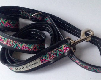 Pink and Turquoise Triangle Pattern Leash