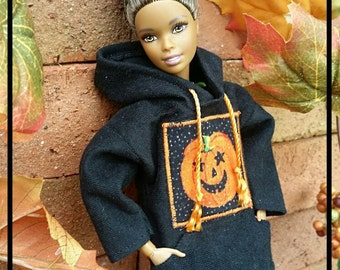 Fall Black Pumpkin Barbie Hoodie Ready to Ship