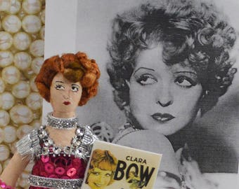 Clara Bow Doll Miniature Vintage Hollywood Classic Silver Screen Art Collectible