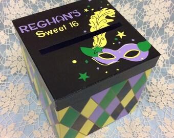 "2006, Mardi Gras Theme Card Box, Costume Party Card Box, Sweet 16 Card Box, Birthday Party Card Box, 9"" Cube Box"